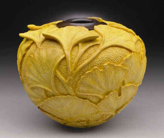 Incredible Carved Wooden Vessels Dixie Biggs Creates LatheTurned LeafEmbellished Art