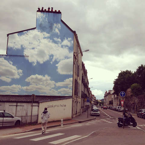Amazingly Realistic Cloud Graffiti  cloudy skies