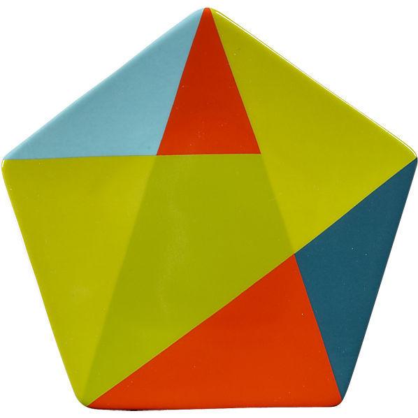 Gridded Geometry Decor : colorblock pentagon appetizer plate