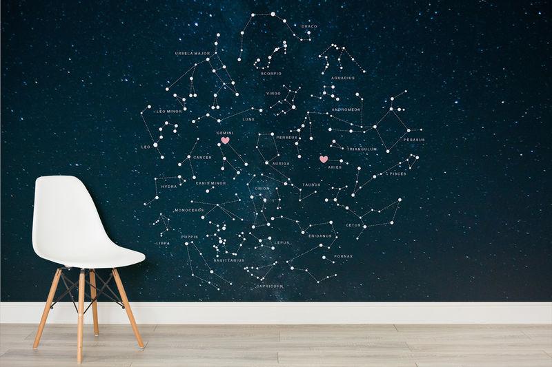 Girl Nursery Wallpaper Uk Personalized Constellation Murals Constellation Mural