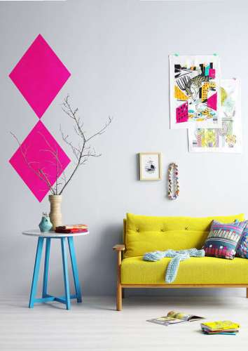 Summer Color Palettes Living Room with Yellow Couch Turquoise Table Pink Wall Art Summer Girls Just Wanna Have Fun