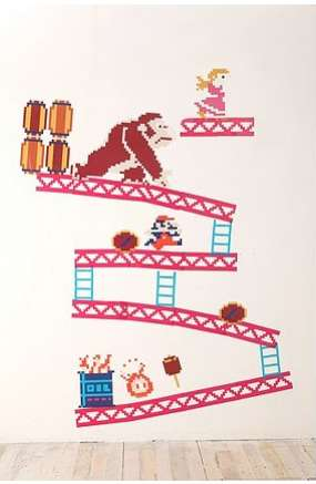Cute Videogame Wallpaper Gamer Wall Stickers Donkey Kong Wall Decals