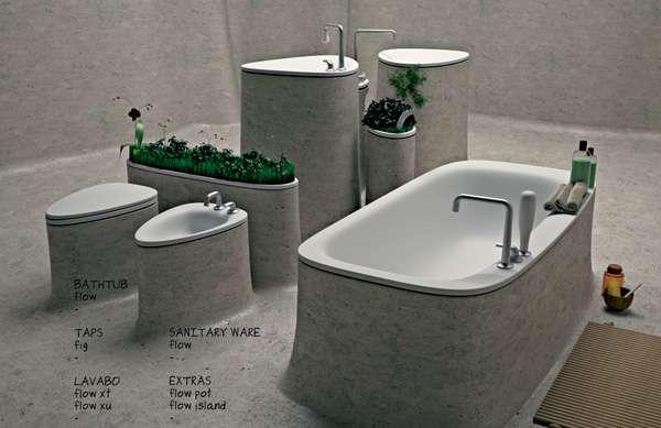 Monolithic Lavatory Lines Flow Bathroom Concept