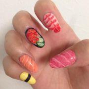 """sushi nail art """"food art"""""""