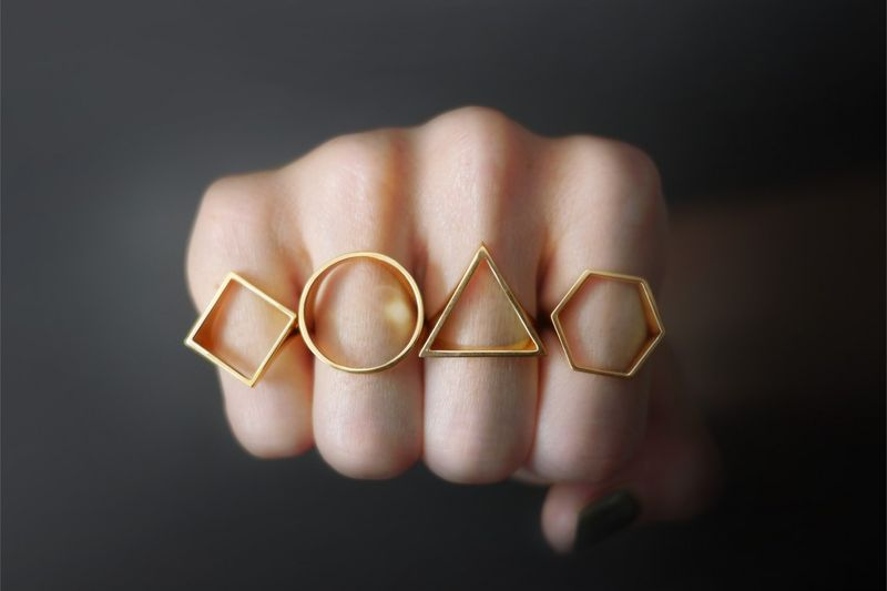 Simplistically Shaped Jewelry Geometric Metal Ring