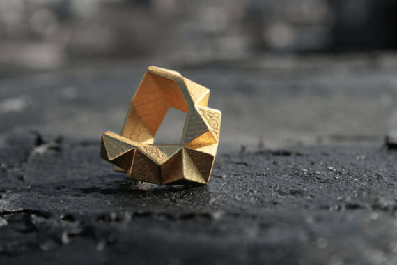 Golden Cubist Jewelry  Gold Geometric Chunky Ring