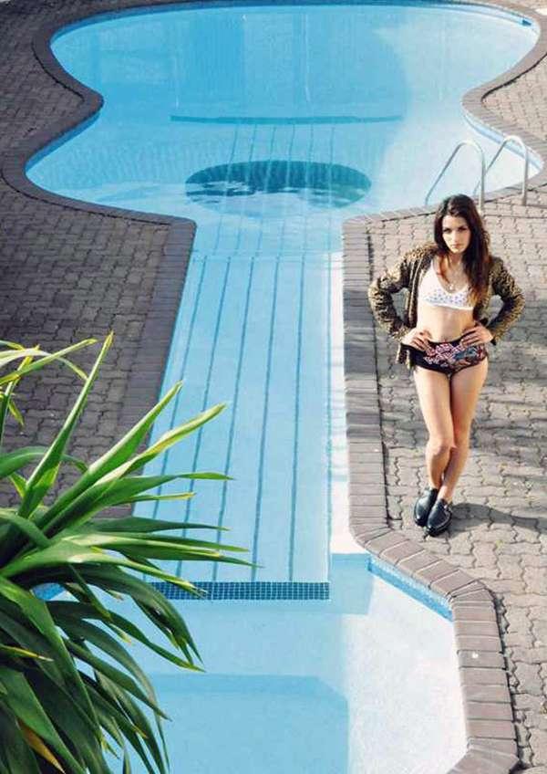 Rockin Swimming Plunges  guitarshaped pool