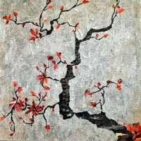 Newspaper Decoupage Art : Japanese cherry tree