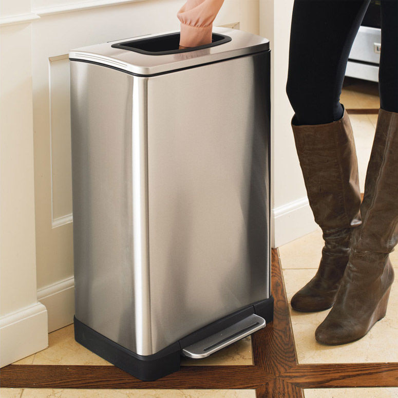 kitchen trash high top table compacting garbage cans can