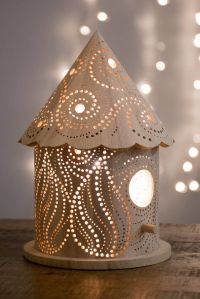 Wood-Carved Children's Lamps : laser-cut lamp