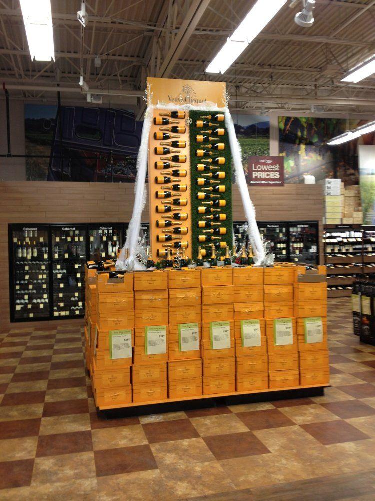 Cascading Champagne Displays  liquor display