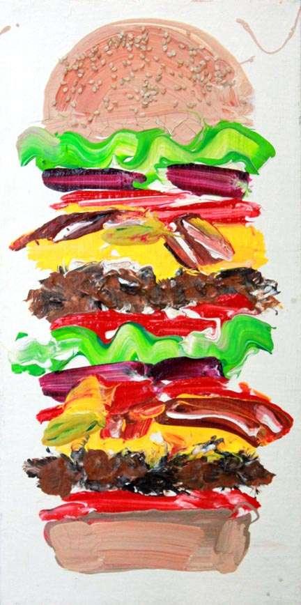 Cute Hamburger Wallpaper Psychedelic Food Art Maya Hayuk