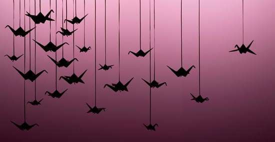 Paper Crane Curtains Chrissie Macdonald Creates Set Decoration and Art from Paper