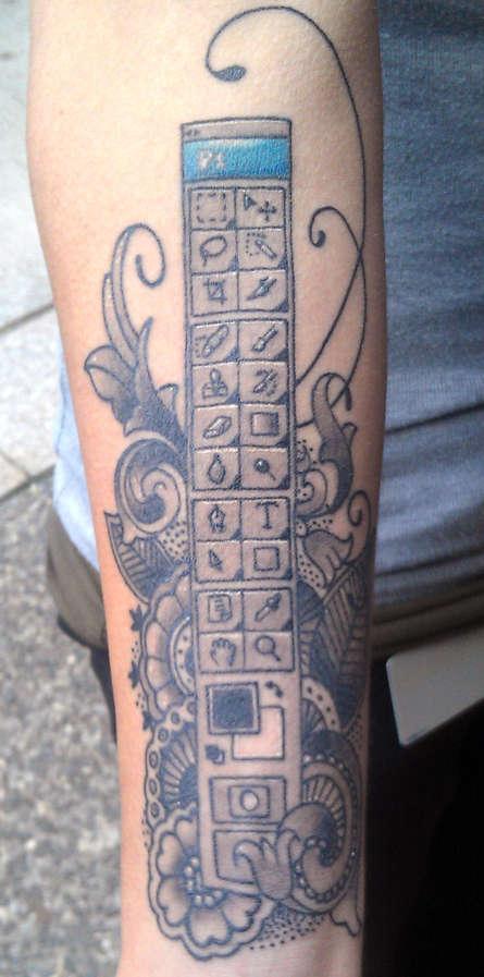 Nerdy ComputerInspired Tattoos  photoshop toolbar tattoo