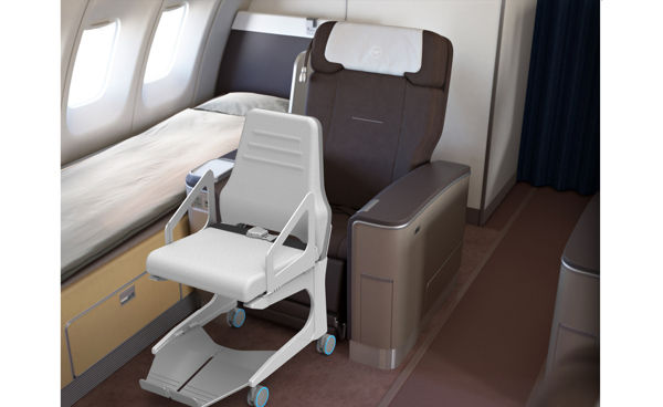 chairs for small spaces modern gray leather dining chair efficient aircraft wheelchairs : posta seat transfer assist