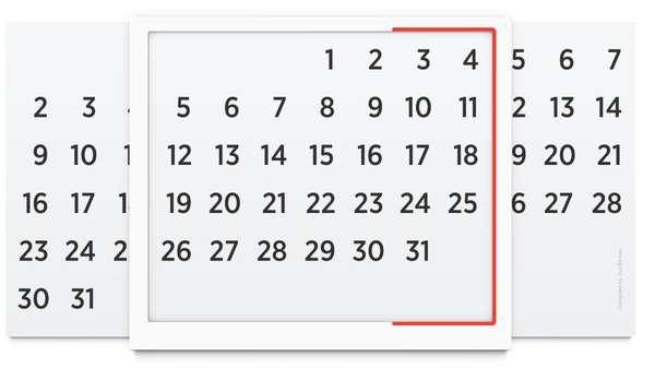 Minimalist Infinite Calendars : Reusable Calendar