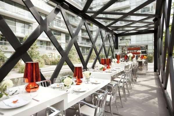 Caged Communal Cafes  Scarpetta Dining Pavilion