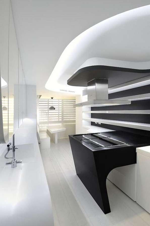 Futuristic Colorless Interiors  scifi apartment
