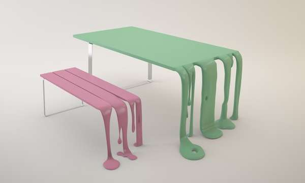 resin table and chairs set weekend warrior dripping benches: 'smooth & smoothie' by florent degourc looks like melted bubble gum