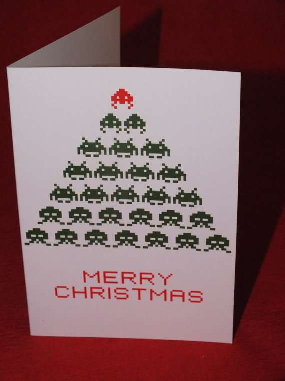Joyous 8 Bit Greetings Space Invaders Christmas Card