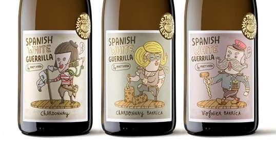 Cartoon Booze Branding  Spanish White Guerrilla
