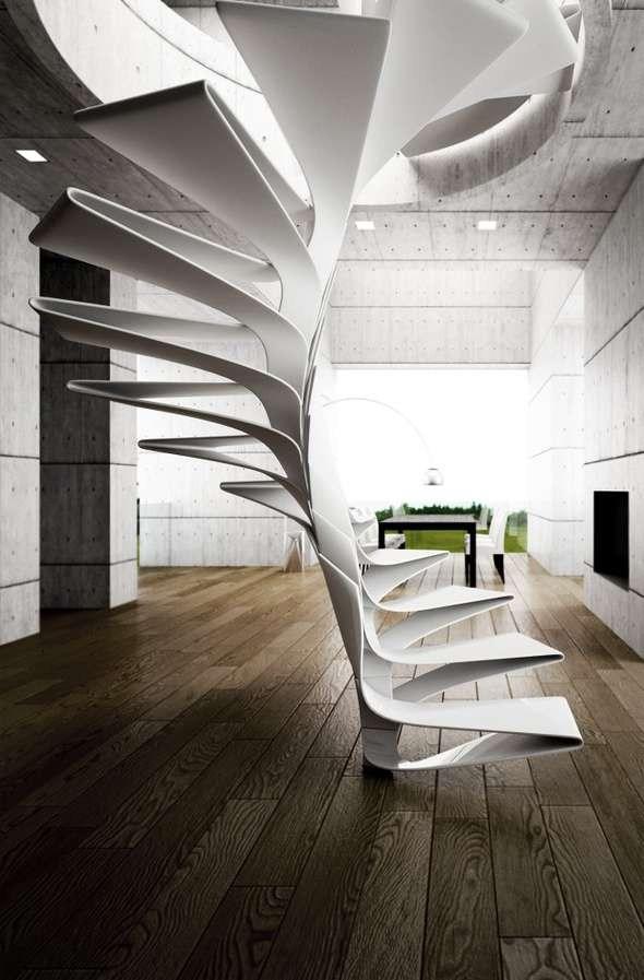 Helical Plexiglass Steps Spiral Staircase Design | Helical Staircase Structural Design