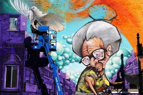 Grandma Inspired Street Art Spray Painting