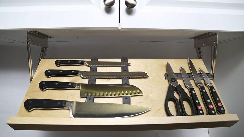 kitchen knife storage faucet sale hidden magnetic blocks drawer