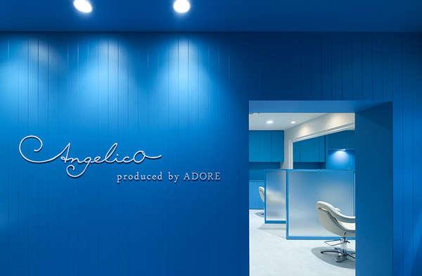 Monochromatic BlueStyled Salons  stylish hair salon