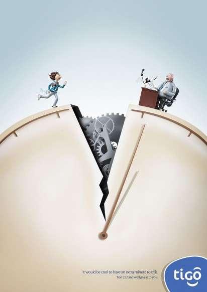 Cracked Clock Ads  Tigo Paraguay campaign