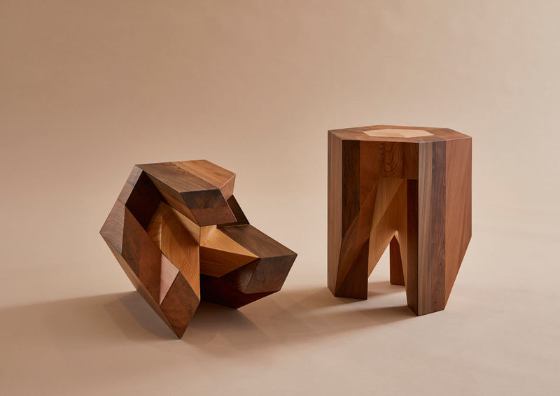 PuzzleLike Wooden Stools  traditional Japanese furniture