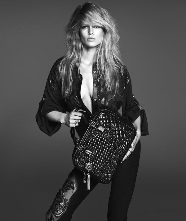 Edgy Girl Wallpaper Grayscale Bombshell Fashion Ads Versace Spring 2014 Woman