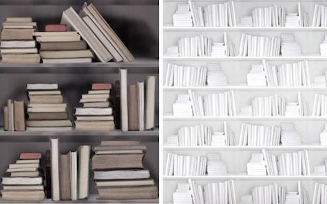 Faux Library Finishes  Vintage Bookshelf Wallpaper