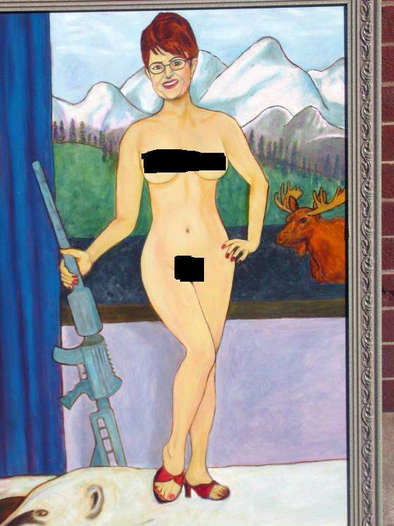Naughty Political Portraits Sarah Palins Painting in a