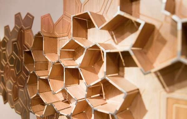 Tectonic Timber Shelves  Wall Cracked Shelf