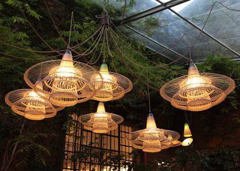 Whimsical Recycled Lighting  wicker lamp shades
