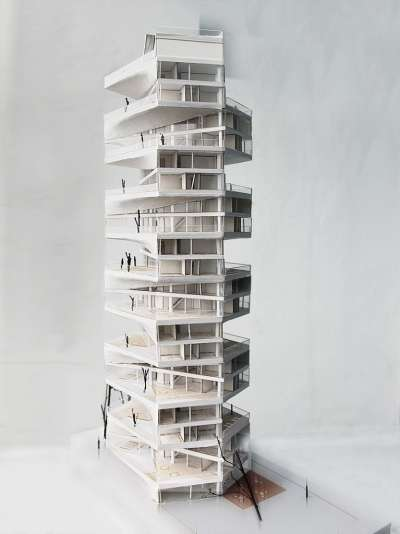 Twisted Jenga Apartments  writhing tower by lycs architects