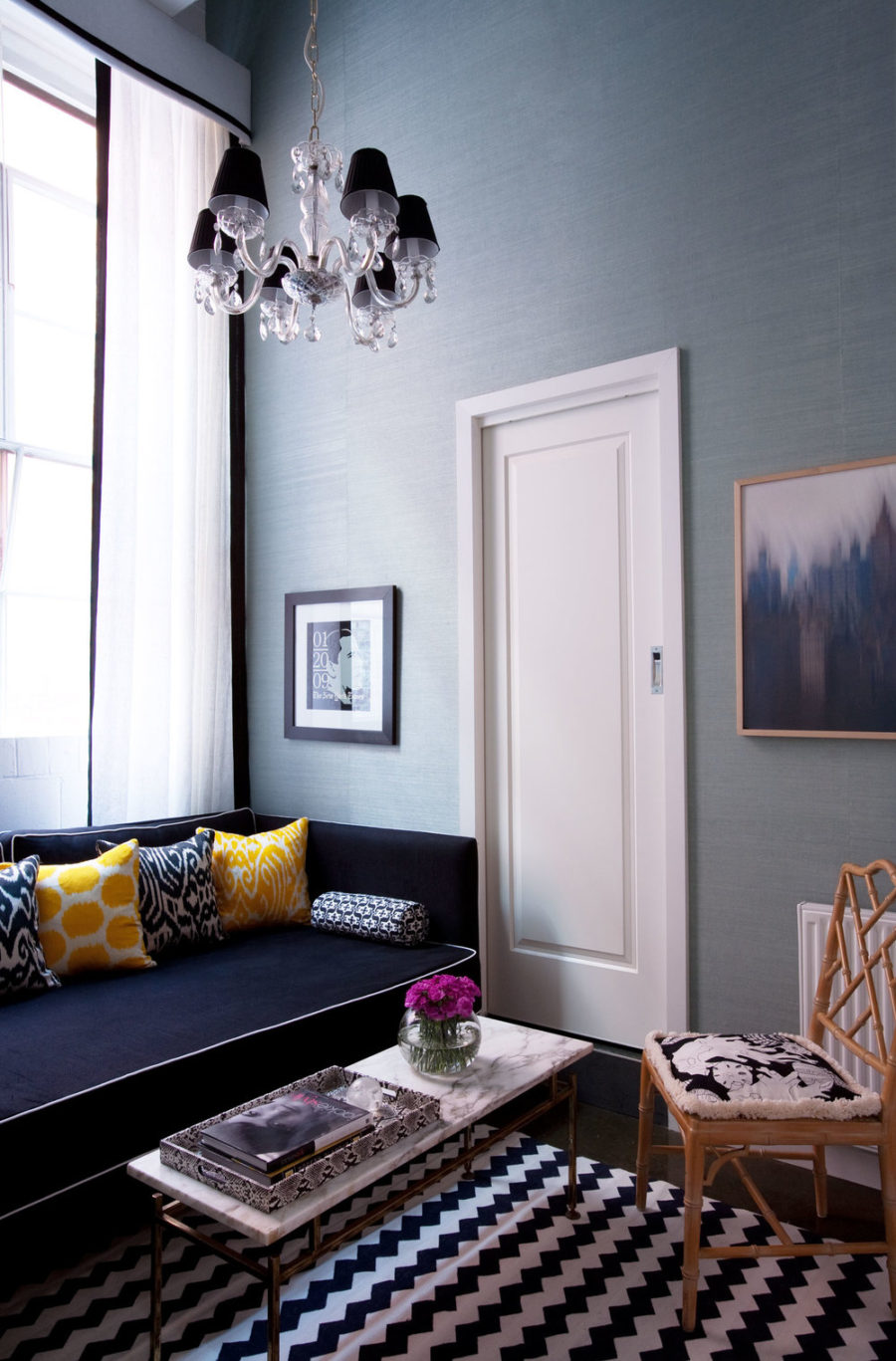 grey blue and yellow living room ideas white 40 accent color combinations to get your home decor wheels turning view in gallery nook navy daybed faux bamboo occasional