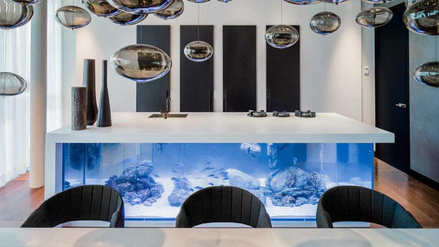 kitchen island with bar wine rack amazing built-in aquariums in interior design