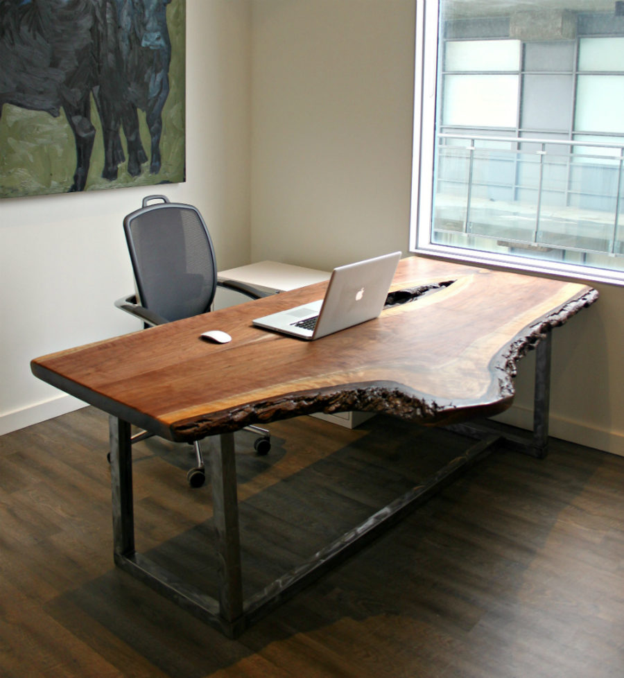 Live Edge Reclaimed Wood Office Desk