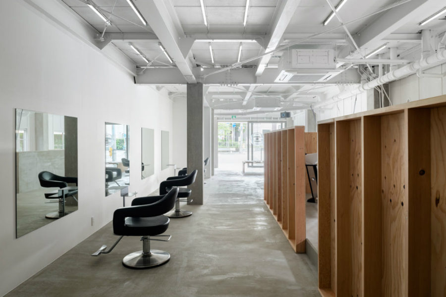 Stylish Japanese Hair Salon Made of Concrete and Wood