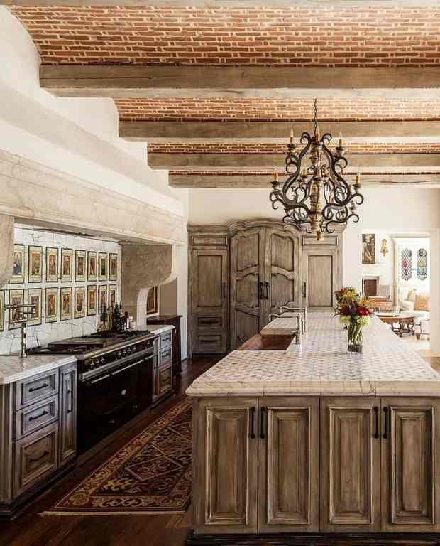 Mediterranean Kitchen Brick Ceiling