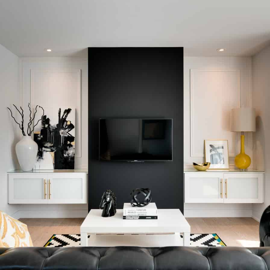 contemporary wall decor for living room with tv and fireplace elegant creative design ideas black