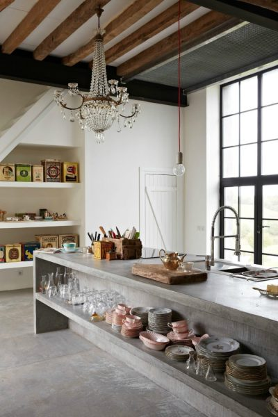 concrete kitchen island Showing Off: Modern Tableware Display Ideas