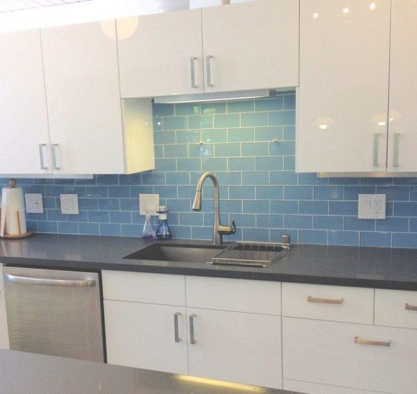 Blue Glass Subway Tiles Kitchen Backsplash