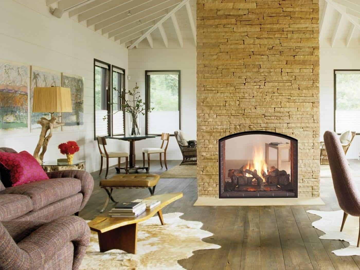 These 15 DoubleSided Fireplaces Wishing For The Coldest