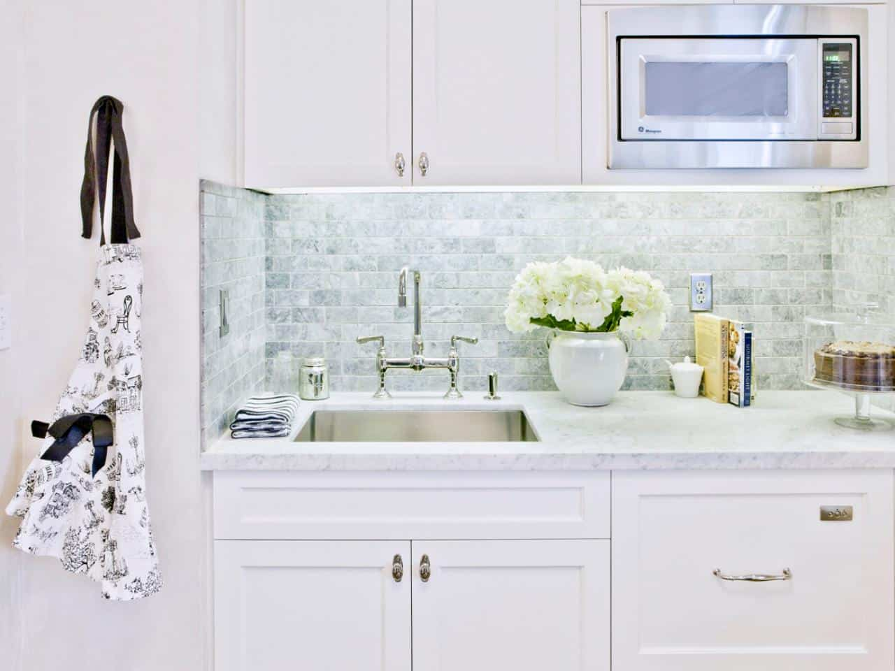 kitchen backsplash trends cabinet photos adding color to an all white without disrupting