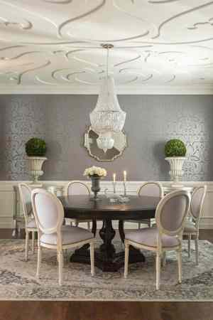 dining ceiling elegant table grey rooms walls ivory chairs pedestal makeover trim wow wallpapers dark metallic pattern oriental silver louis