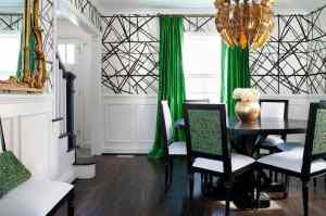 dining kelly walls wearstler gold geometric emerald channels curtains decor drapes chairs rooms wall accents decorate contemporary wainscoting interiors colors