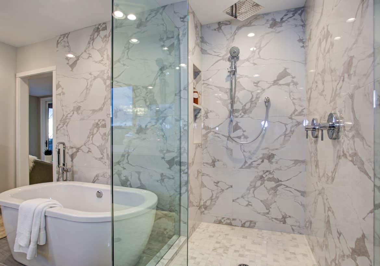 vein bathroom marble Walk in shower ideas that bring you a Zen feel